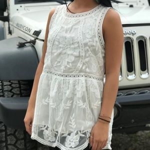 Tops - Ivory Lacey Lined Tank Top